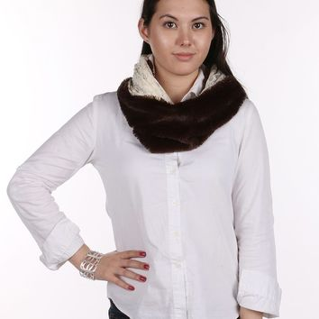 Brown Soft Fur Laced Infinity Neckwarmer Scarf