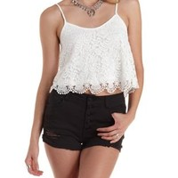 Crochet-Trim Lace Crop Top by Charlotte Russe