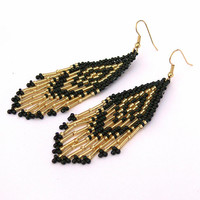 Native American Beaded Earrings. Long Earrings. Black and Gold Dangle Earrings. Beadwork