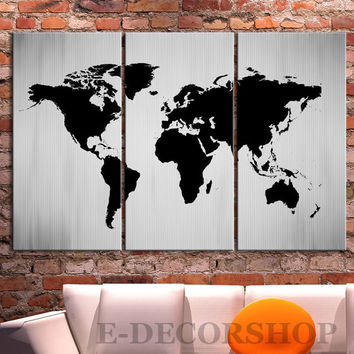 Large Wall Art Canvas Print Black and White WORLD MAP Canvas Print - 3 Panel Canvas Art Print - Ready to Hang - White Black World Map