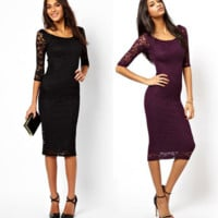 Hot Seven Sleeves Slim Lace Dress