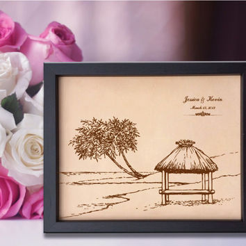 Lik208 Leather Engraved Wedding 3rd anniversary Bungalow Sea Caribbean islands date name honeymoon