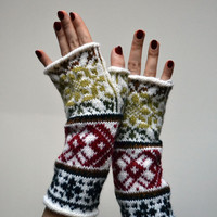 Wool Fingerless Gloves- White Knit Fingerless gloves - Fashion Gloves - Fall Gloves - Boho Gloves - Womens Fingerless nO 78.