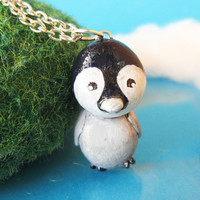 Penguin necklace polymer clay animal totem by FlowerLandShop