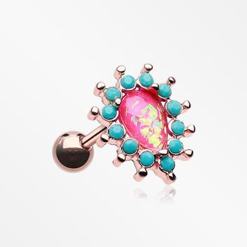 Rose Gold Opulent Opal Turquoise Cartilage Tragus Earring