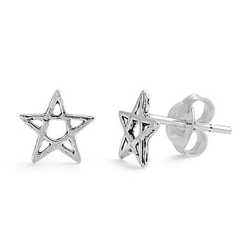 Pentagram Star Stud Earrings Sterling Silver - 7mm