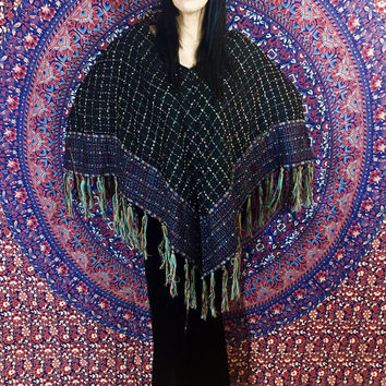Vintage 80s Does 70s Black Bohemian Gypsy Colorful Embroidered Diamond Pattern Fringe Afghan Blanket Poncho