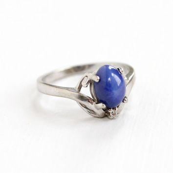 Vintage 10k White Gold Created Star Sapphire & Diamond Ring - Size 6 1/2 Synthetic Blue Oval Cabochon Fine Jewelry