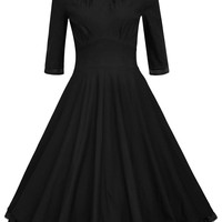 MapleClan Women's 1950s Rockabilly 3/4 Sleeve Swing Cocktail Dress