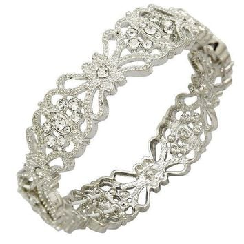 CREYV2S Q&Q Fashion Art Deco 1920s Accessory Flapper Costume Flower Austria Crystal Bridal Cuff Bracelet Bangle