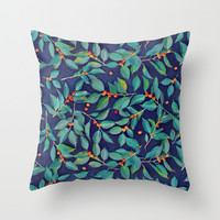 Leaves + Berries in Navy Blue, Teal & Tangerine Throw Pillow by Micklyn