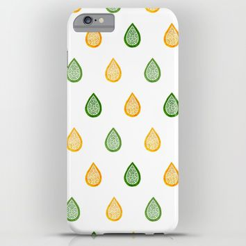 Yellow and green raindrops iPhone & iPod Case by Savousepate
