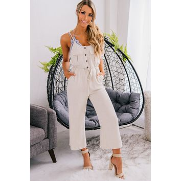 Rise With The Sun Linen Jumpsuit (Oatmeal)