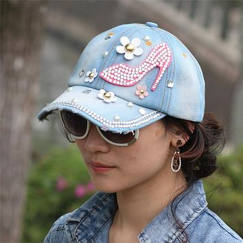 2016 new fashion high-heeled shoes crystal Rhinestone Floral  women baseball cap cowboy hat denim jeans summer sun hat
