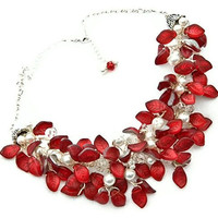Red Statement Necklace with Leaves Crystals Pearls, Bib Necklace, Bridal Jewelry