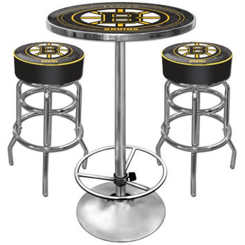 Boston Bruins Gameroom Combo - 2 Bar Stools and Table