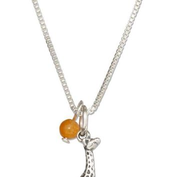 "Sterling Silver 18"" Giraffe Pendant Necklace With Orange Quartz Bead"