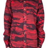 CAMO OXEN BUTTON DOWN RED