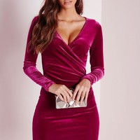 Missguided - Velvet Wrap Over Bodycon Dress Raspberry