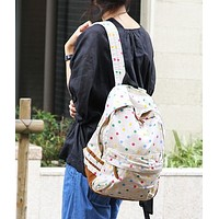 Perfect Confetti Canvas Backpack in Cream or Blue