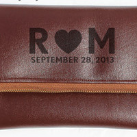 Secret Message Leather Foldover Clutch