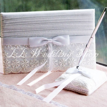 Free shipping,Set of 2pcs Lace Flower Handmade Satin Bow Wedding Guest Book& Pen Holder Set Wedding Party Decoration SWD48