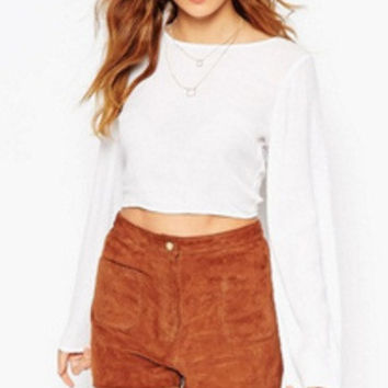 White Bell Sleeve Back Tie Cropped Top