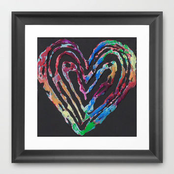 The Color Of Love Abstract, Colorful, Romantic, Heart Painting Framed Art Print by WinchesterWendy | Society6