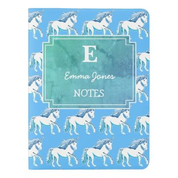 Unicorns Blue White Teal Custom Monogram Notebook