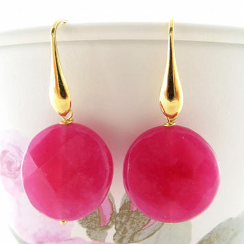 Fuchsia jade earrings, gemstone jewelry, hot pink disc earrings, sterling silver 925 gold plated 18 k,  jewels Made in Italy Sofia's Bijoux