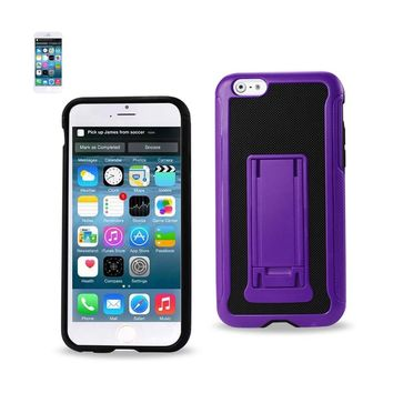 Reiko REIKO IPHONE 6 PLUS HYBRID HEAVY DUTY CASE WITH VERTICAL KICKSTAND IN BLACK PURPLE
