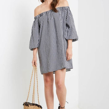 Black Rise Gingham Shift Dress