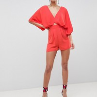 ASOS DESIGN Romper With Kimono Sleeve And Cut Out at asos.com