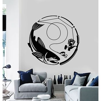 Vinyl Wall Decal Caught Fish Club Fishing Hobby Marine Style Stickers Mural (g624)
