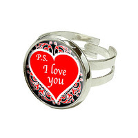 PS I Love You Red Heart Silver Plated Adjustable Novelty Ring