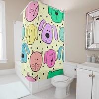 Cute Colorful Pet Pattern Shower Curtain