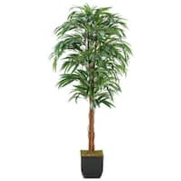 6-foot Weeping Ficus Tree in Metal Planter | Overstock.com Shopping - The Best Deals on Silk Plants