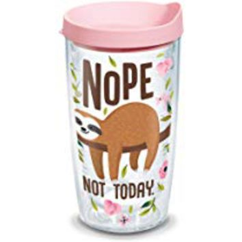 Tervis 1303151 Sloth Nope Not Today Insulated Tumbler with Wrap and Pink Lid, 16 oz - Tritan, Clear