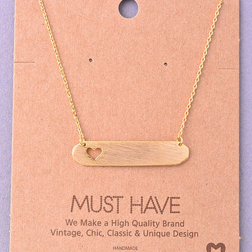 tiny bar with heart necklace in gold