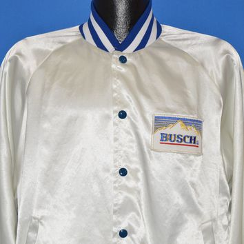 80s Busch Anheuser Beer Satin Snap Up Jacket Extra Large