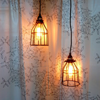 Industrial Style Hanging Caged Pendant Light with Vintage Style Lightbulb