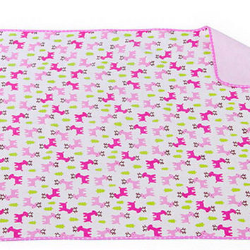 Toddler Waterproof Washable Diaper Changing Mat Pad-Pink Deer - 50*70Cm
