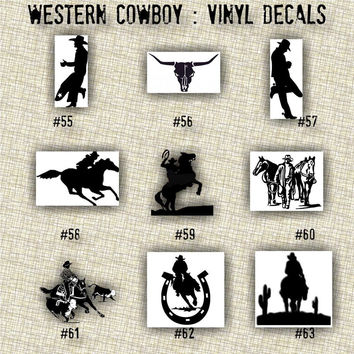 COWBOY vinyl decals | country western | country boy | car decals | car stickers | laptop sticker - 55-63