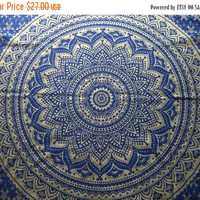 ON SALE Gold and blue mandala tapestry/ India print fabric/ bohemian wall hanging/ boho bed cover/ unique hippie metallic India fabric