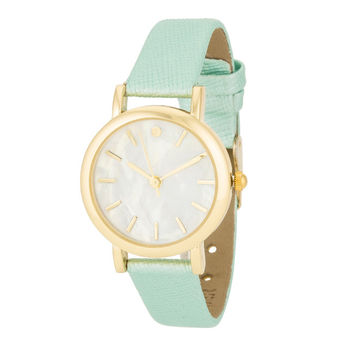 MOP Dial Mint Leather Watch