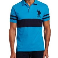 Men's Slim Fit Solid Color Block Polo Shirt