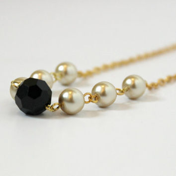 Simple Black and Gold Glass and Faux Pearl Modern Beaded Necklace - Handmade Jewelry - Ready to Ship