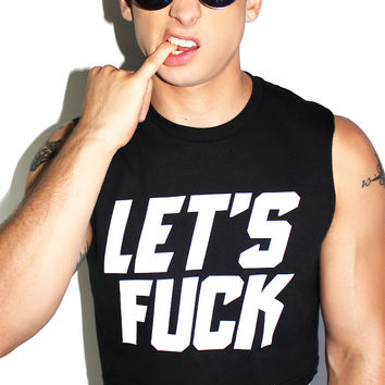 Let's Fuck Crop Tank- Black