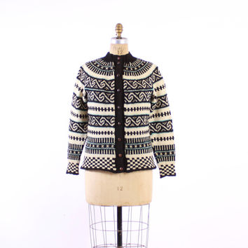 Vintage 60s NORWEGIAN CARDIGAN / 1960s Scandinavian Black & Ivory Blue Wool Knit Cardi Sweater M
