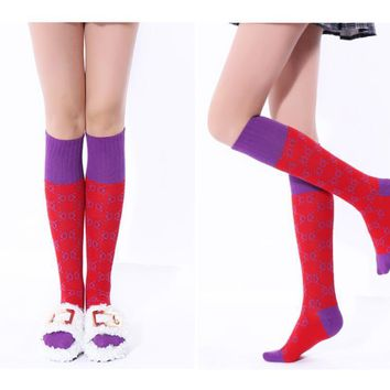 fashion Spring/autumn knee socks female socks stretchy pink letters high quality